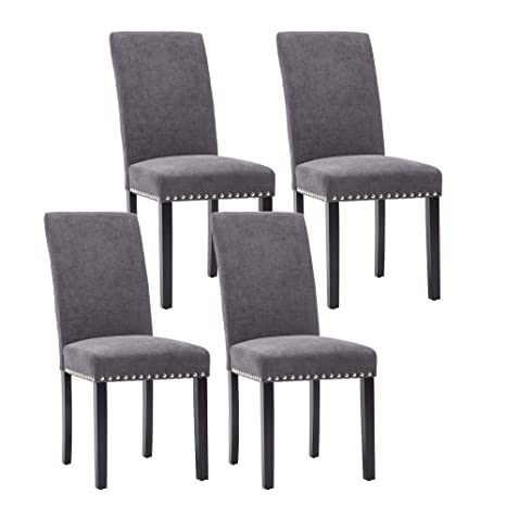 NOBPEINT Dining Chair Upholstered Fabric Dining Chairs with Copper  Nails,Set of 4,Grey