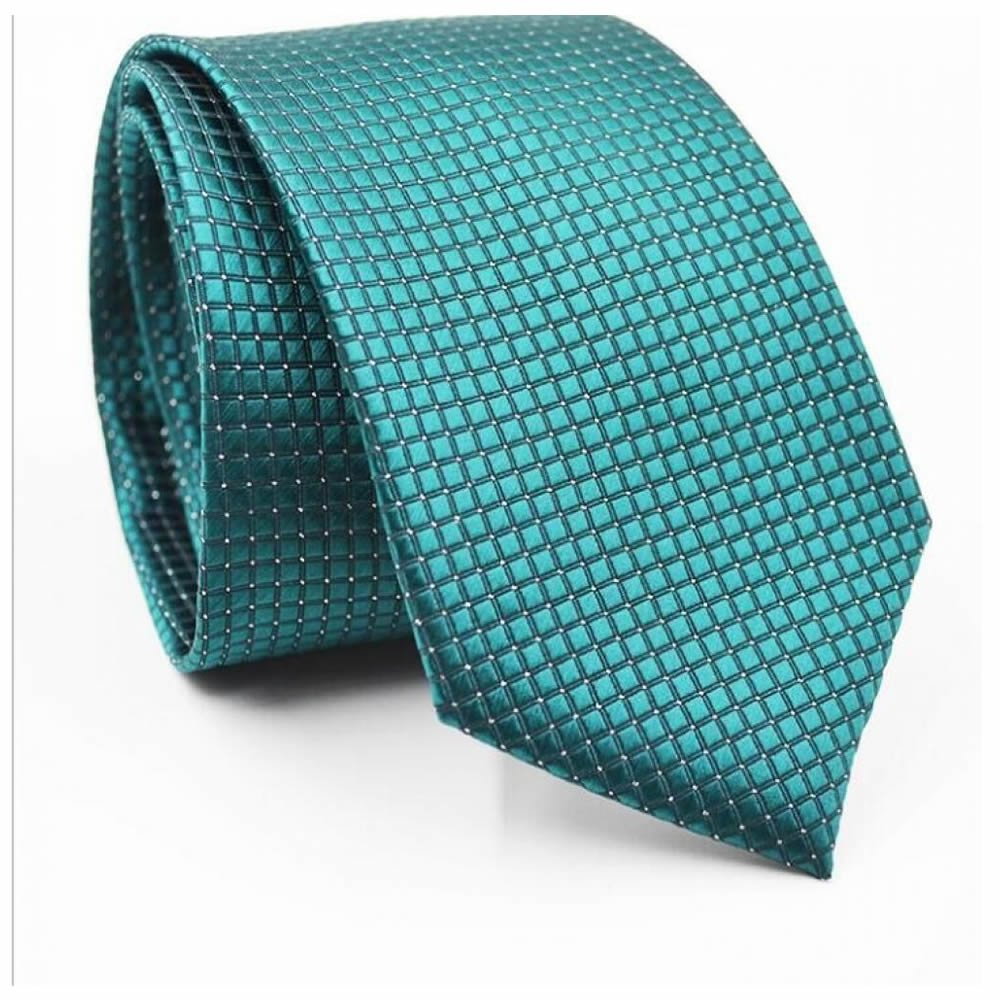 GOOTRADES Classic Checks Jacquard Woven Men's Tie Necktie for Wedding Party (Dark Green)