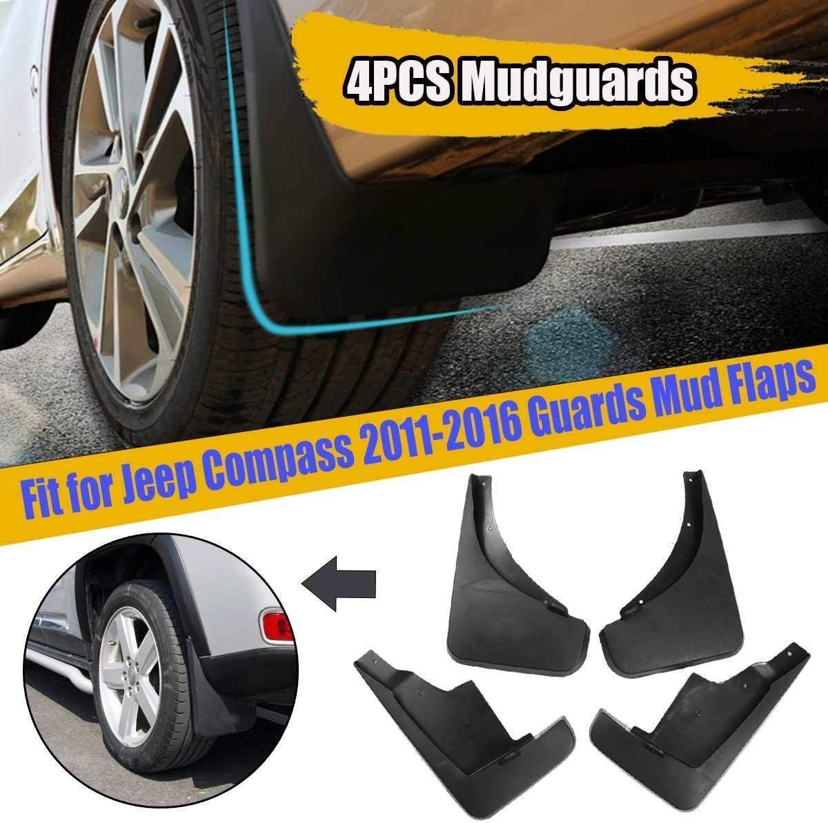 4pcs Color : Black Set Voiture Boue Rabats for Jeep Compass 2011 2012 2013 2014 2015 2016 Garde-Boue Garde Splash Fenders Accessoires Auto