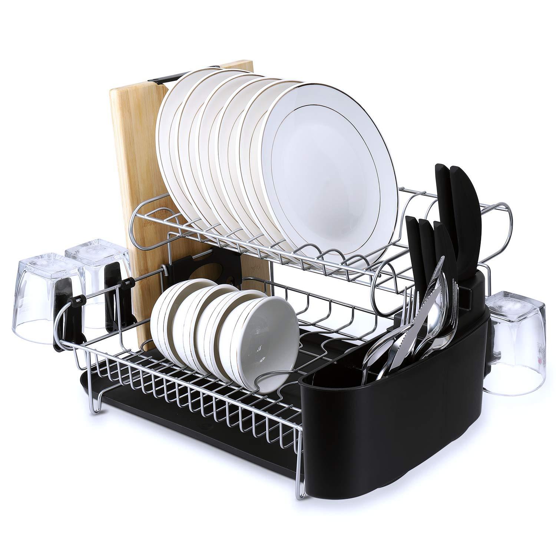 alvorog /Égouttoir M/étal Chrom/é Double Support de Vaisselle Plateau en Microfibre Inclus Organisateur de Cuisine enti/èrement Personnalisable avec Support de Coupe Amovible pour /égouttoir et Couverts