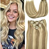 Human Extensions Clip in Hair Extensions 120g Ombre Light Highlighted Goden Blonde Remy Human Hair Extensionss Clip on…