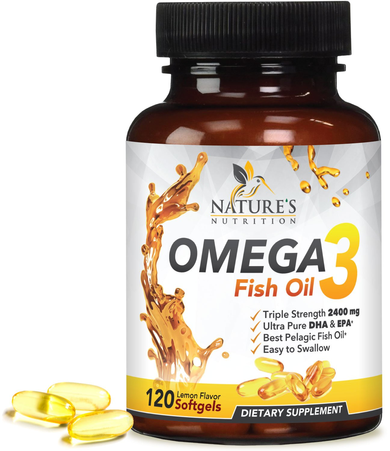 Omega 3 Fish Oil Concentrated Triple Strength 2400mg - EPA & DHA Fatty Acids Capsules, Non-GMO, GMP Certified, Best Fish Oil Supplement by Nature's Nutrition, Lemon Flavor - 120 Softgels