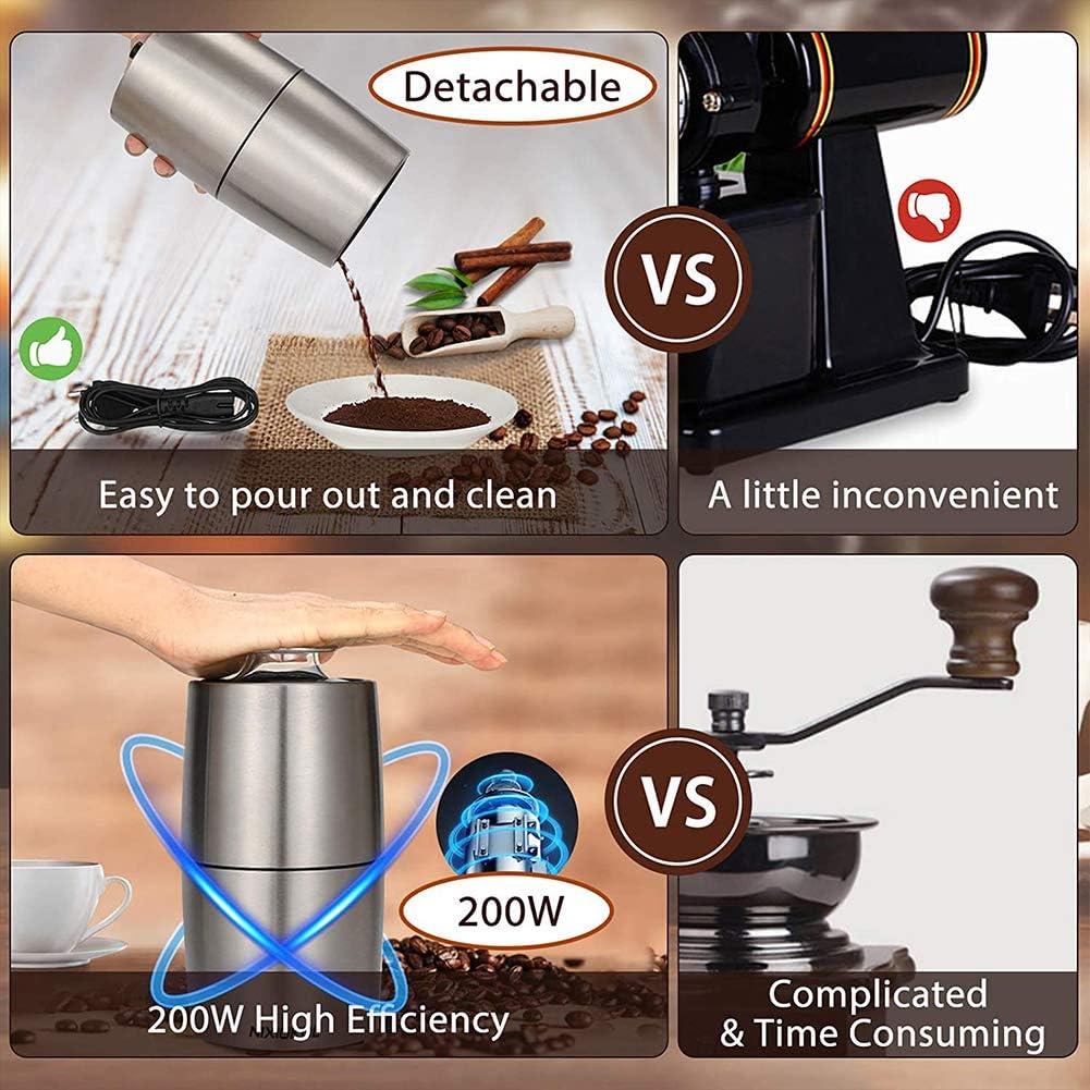 Elektrische Gew/ürzm/ühle Edelstahl Kaffeem/ühle 200W tragbare Kaffee und Gew/ürz M/ühle mit Edelstahlklingen Grinder f/ür Kaffeebohnen N/üsse Korn 50dB Ger/äuscharm Getreidem/ühle 50g Kapazit/ät W/ürzen