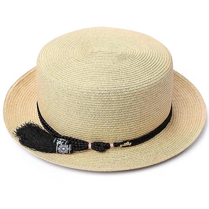 Gorro de Verano Mujer Sombrero de Paja Sombrero de Playa Vacaciones Sol Sombrero  Moda pequeña Borla Fresca (Color   Camel Color)  Amazon.es  Ropa y ... 5edeef5dc51