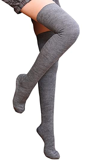 6f9a77ef44d98 Tububa Women's Over The Knee High Socks Knee Socks(Grey, Wool Socks ...