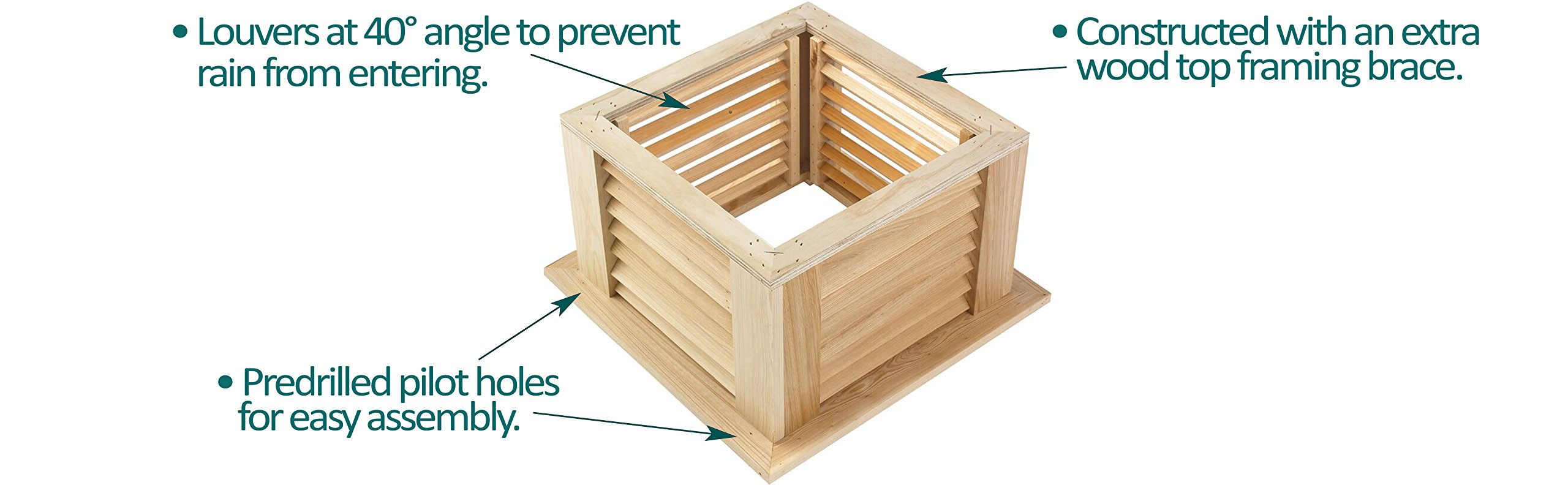 Good Directions Manchester Louvered Cupola with Pure Copper Roof, Cypress Wood, 26'' x 32'', Quick Ship, Reinforced Rafters and Louvers, Cupolas by Good Directions (Image #4)