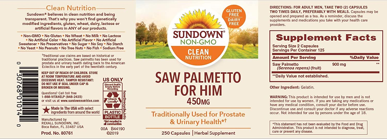 Sundown Naturals Saw Palmetto 450 mg, 250 Capsules