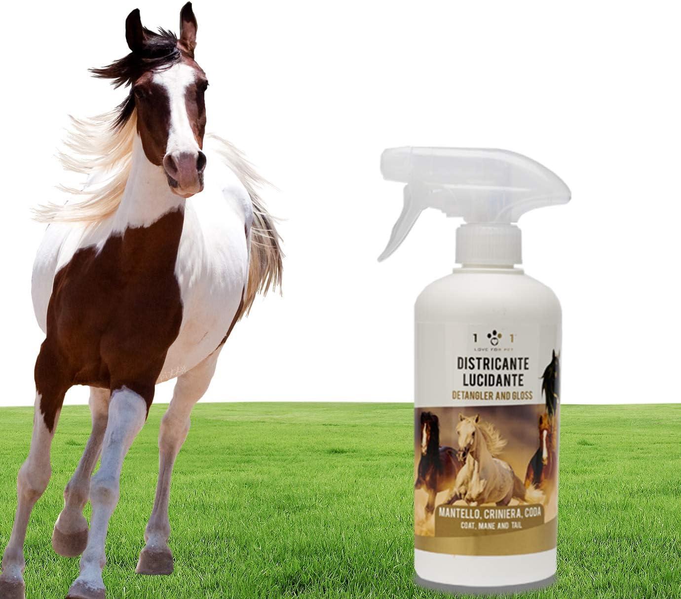 Spray desenredante, limpiador y abrillantador natural y vegetal – para manto, crema y cola de caballos, línea 101 500 ml