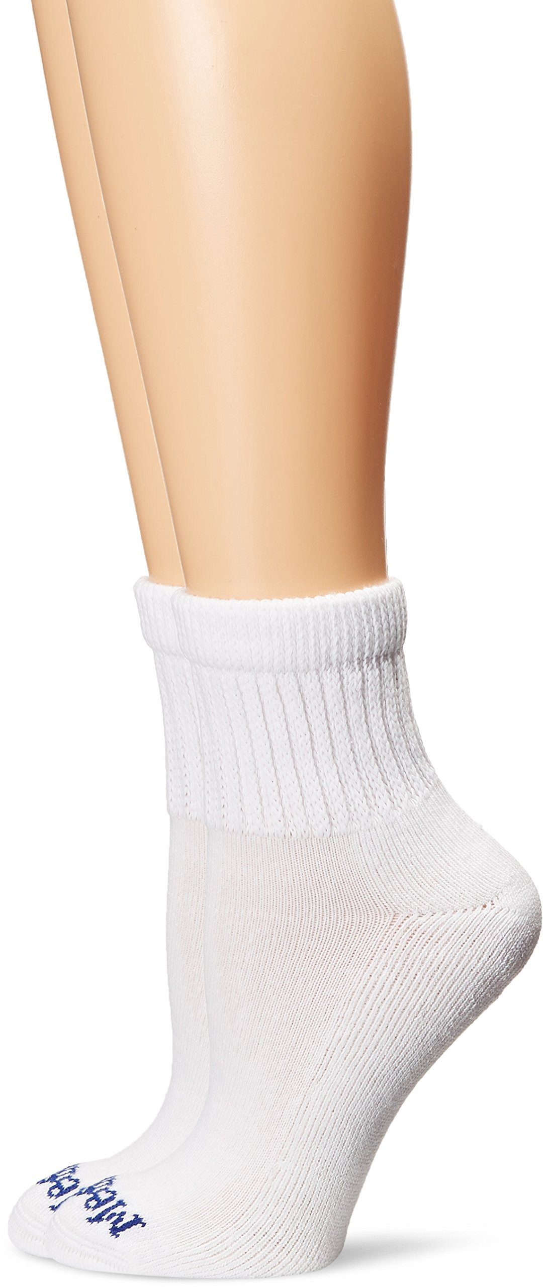 PEDS Women's Diabetic Quarter Socks with Non-Binding Funnel Top 2 Pairs, White, 7-10