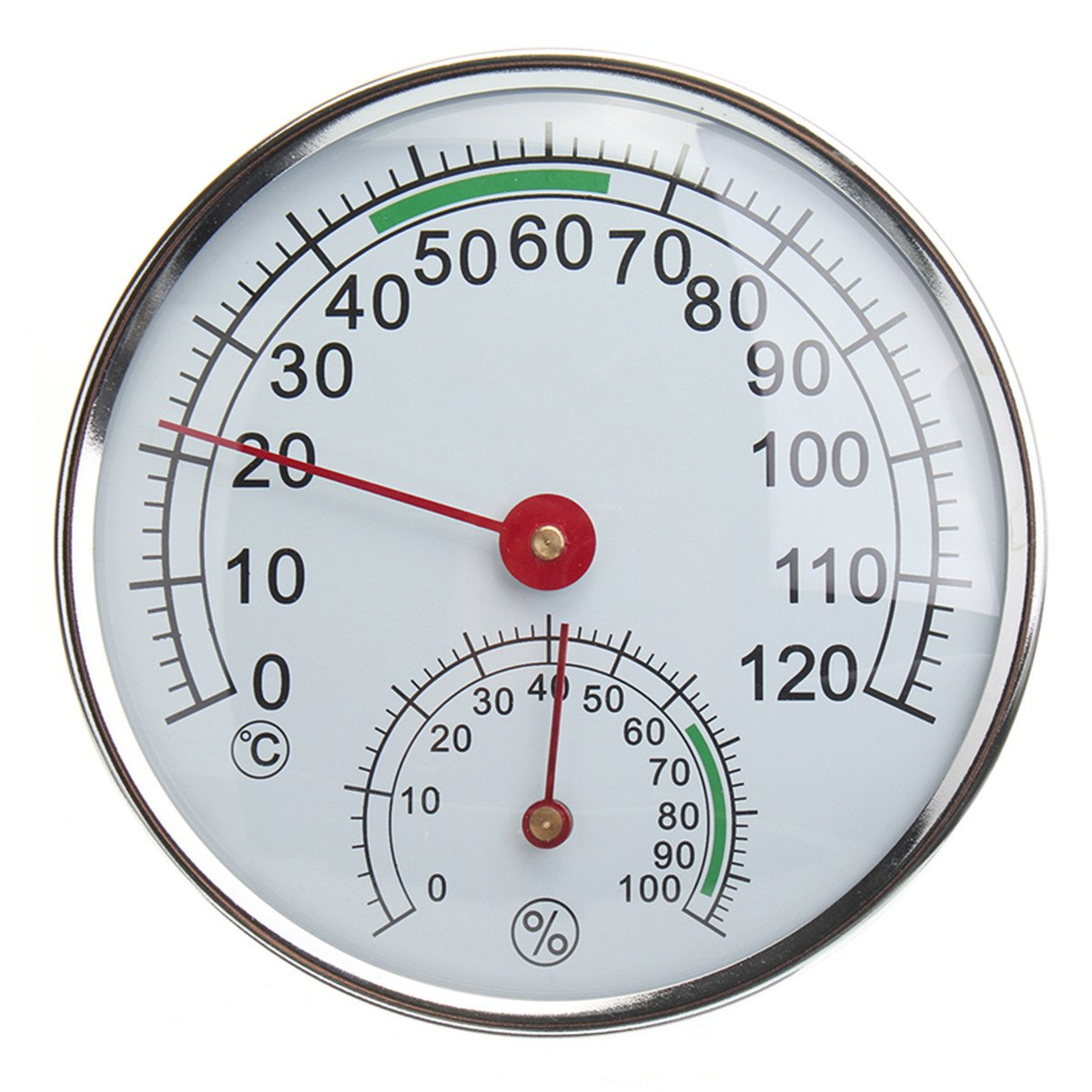 GIMAX Stainless Steel Thermometer/Hygrometer for Sauna Room Temperature Humidity Meter