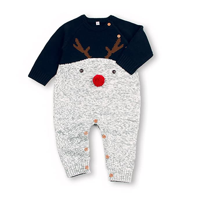 6034e2650590 Amazon.com  mimixiong Baby Knitted Jumpsuits Toddler Red Reindeer ...