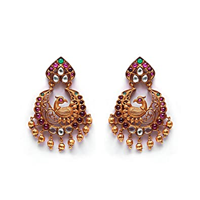 30034c777a Buy Sonal Fashion Jewellery Red Green Ruby Gold Plated Emerald Drop Earrings  For Women & Girls (SOER039) Online at Low Prices in India | Amazon  Jewellery ...