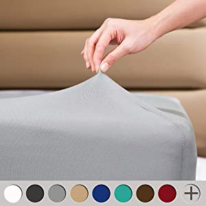 "COSMOPLUS Fitted Sheet Queen Fitted Sheet Only(No Flat Sheet or Pillow Shams),4 Way Stretch Micro-Knit,Snug Fit,Wrinkle Free,for Standard Mattress and Air Bed Mattress from 8"" Up to 14"",Light Gray"