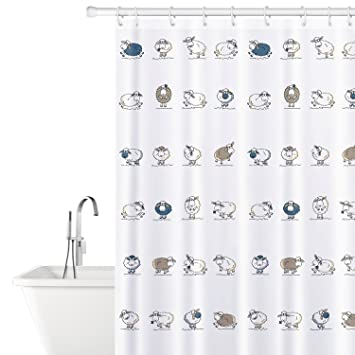 Tatkraft Funny Sheep Fabric Shower Curtain Liner With 12 Rings 100 Waterproof 180X180 Cm