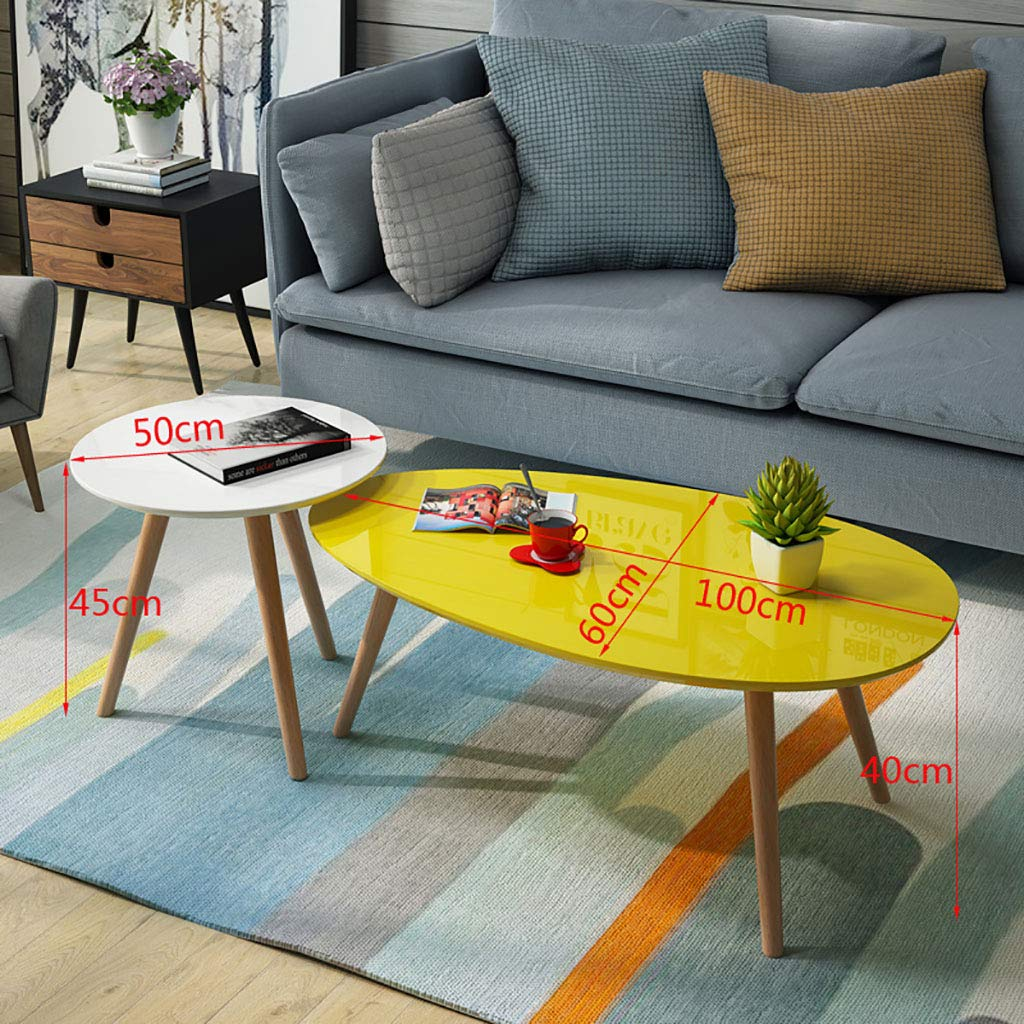 Garde Side Table, Simple Mini Bedroom Modern Home Small Coffee Table, Solid Wood Creative Leisure Negotiation Small Table (Two Sets) (Color : B, Size : 1006040CM+5045CM) by Garde