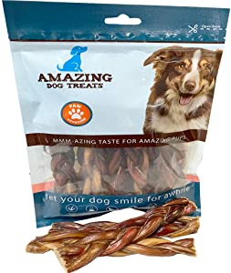 "Amazing Dog Treats 6"" Braided Bully Stick - Odor Free - No Odor Bully Stick for Dogs - Made from Premium Grass Fed Argentinian Beef"