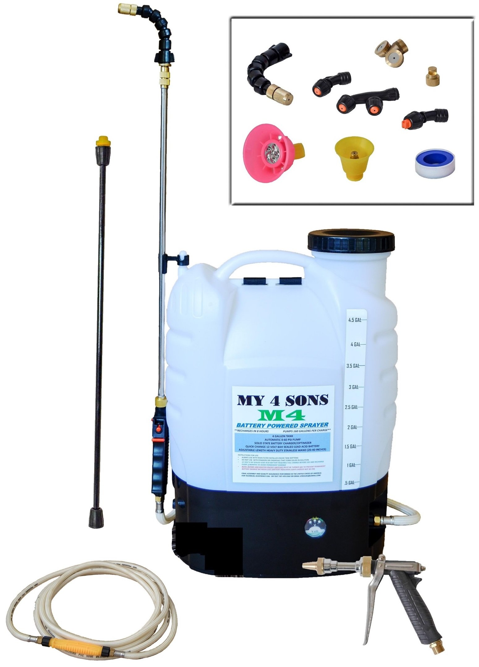 4-Gallon Battery Powered Backpack Sprayer With 0-60 PSI PRESSURE DIAL, ADJUSTABLE BRASS NOZZLE, AND 16-35 INCH STAINLESS HD WAND, ACID PLASTIC WAND, 15ft EXTENDED HOSE and SPRAY PISTOL by My 4 Sons