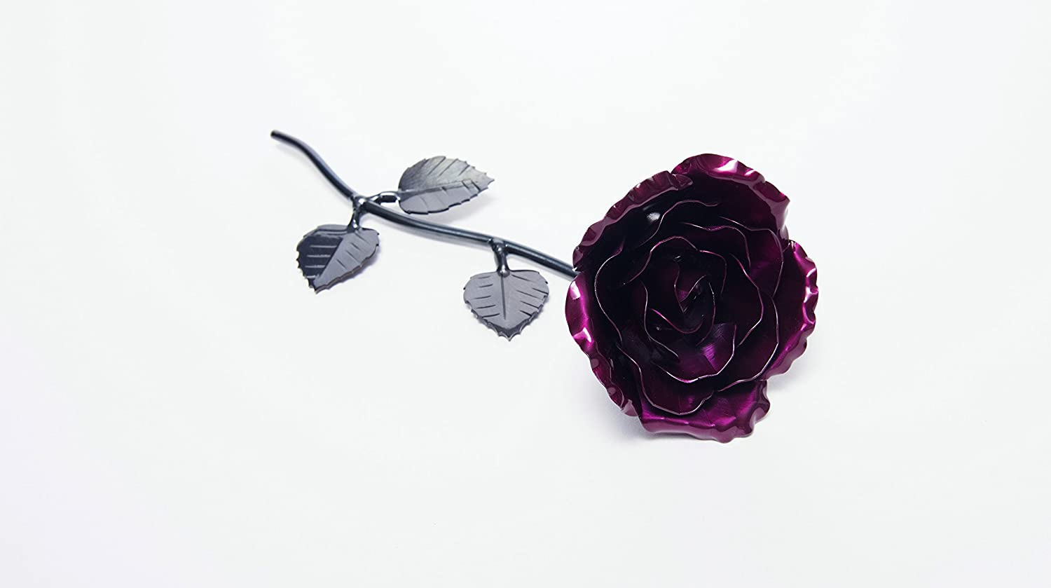 Personalized Hand Forged Wrought Iron Magenta Metal Rose