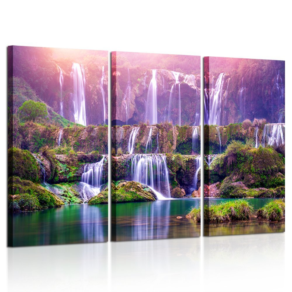 Kreative Arts - Large Size 3 Pieces Peaceful Dreamlike Waterfall Canvas Wall Art Purple Landscape Picture Artwork Modern Nature Painting for Hotel Bedroom Interior Home Decor 16x32inchx3pcs