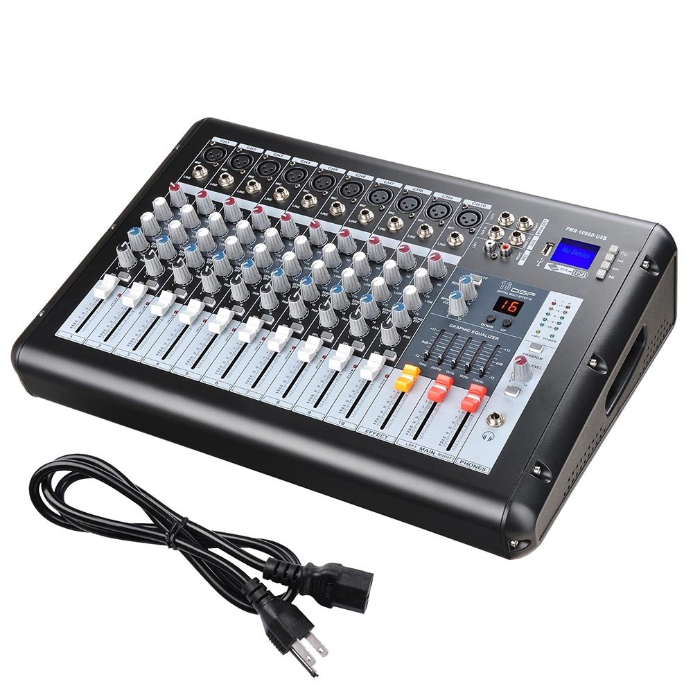 AW 10 Channel Professional Powered Mixer with USB Slot DJ Power Mixing 110V 18.9''x13.2''x5.3'' by AW