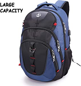 Swissdigital Vector Business Travel Laptop Backpack (Unisex) with Smart USB Charging Port Fits 15.6 inches laptops, Blue (SD-803)