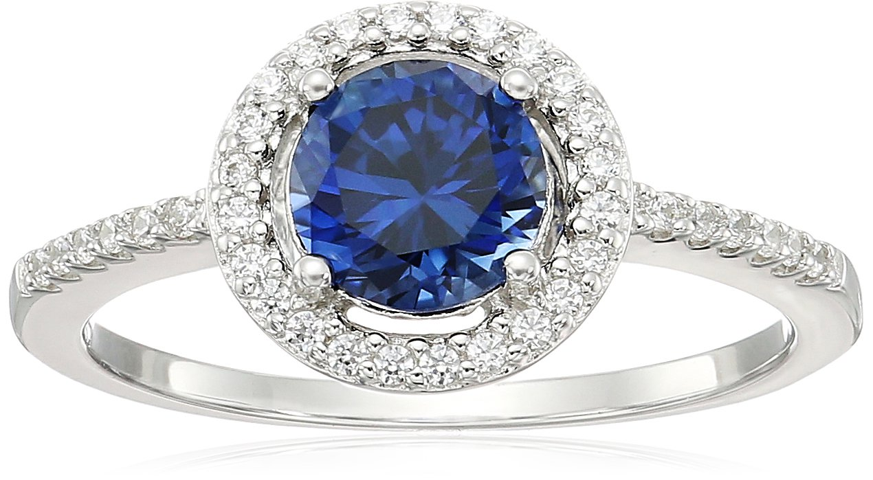 Sterling Silver Created Blue Sapphire Faceted Round Swarovski Zirconia Halo Pave Band Ring, Size 7