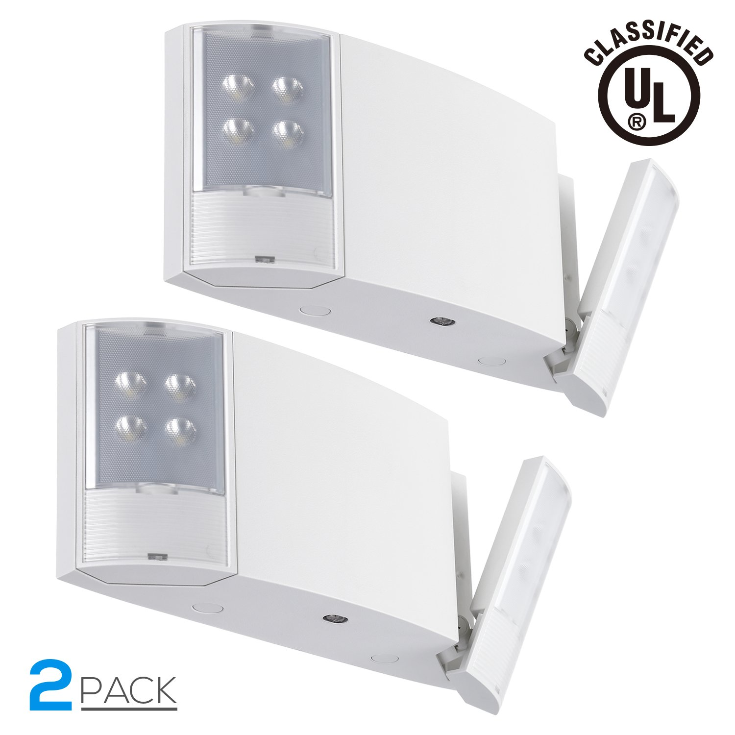 LED Emergency Light with Battery Backup, 1000mAh Rechargeable Battery, Adjustable Dual Heads, UL924 Listed, 120-277V, High Light Output for Office Buildings, Warehouses, Hotels, Pack of 2