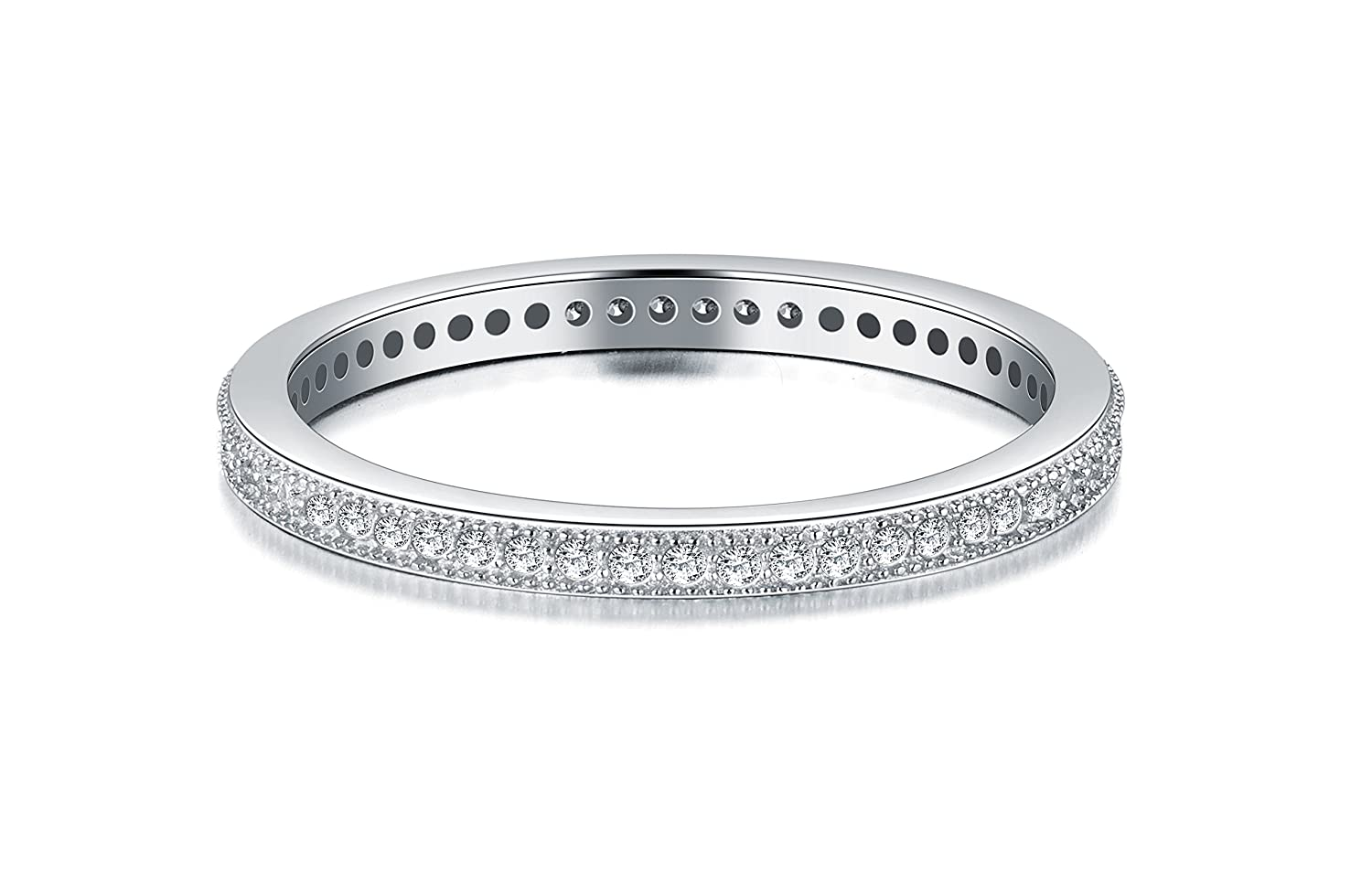 BoRuo 2MM 925 Sterling Silver Ring Cubic Zirconia CZ Wedding Band Stackable Ring Size H-Y