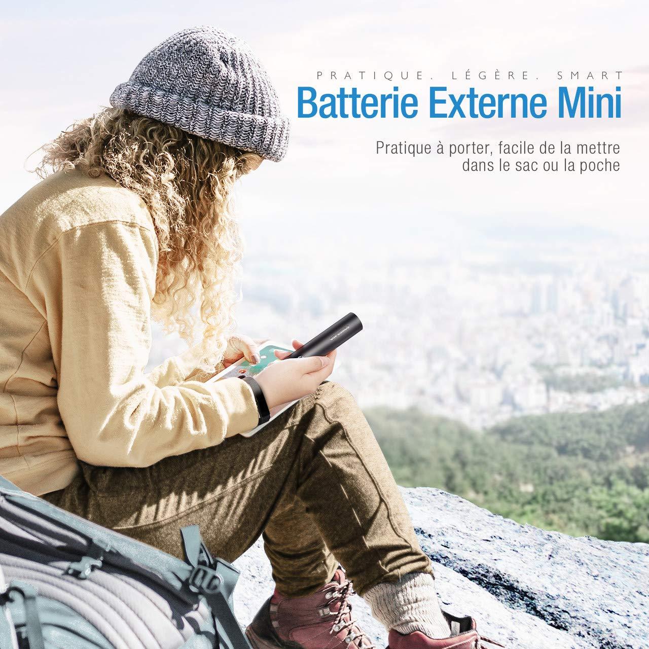 POWERADD Energycell 5000 Batterie Externe Portable 5000mAh Le Plus Petite et Légère avec la Sortie de 2.4A Mini Batterie de Secour-Noir