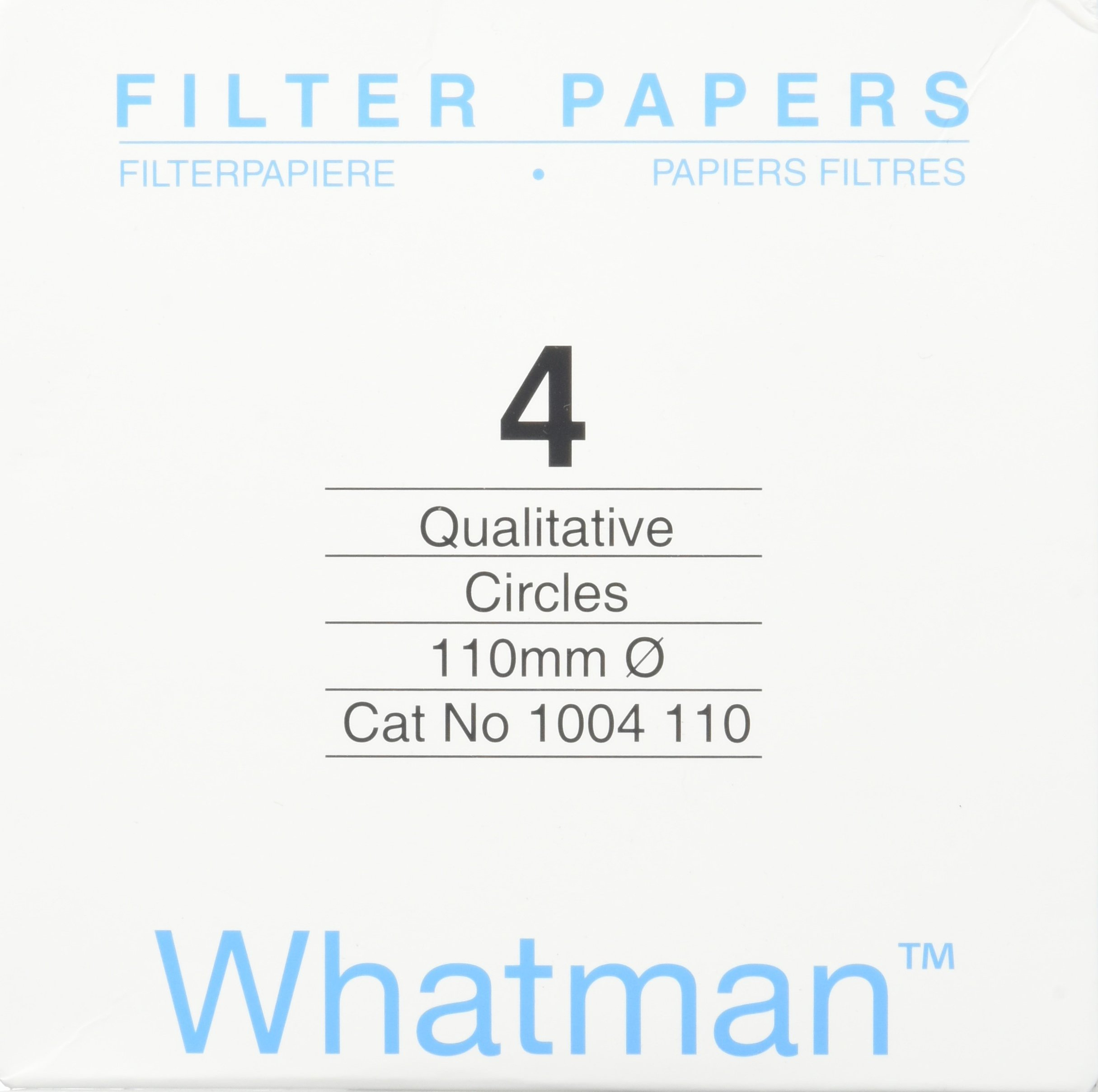 Whatman 4712N25PK 1004110 Grade 4 Qualitative Filter Paper, 110 mm Thick and Max Volume 1621 ml/m (Pack of 100)