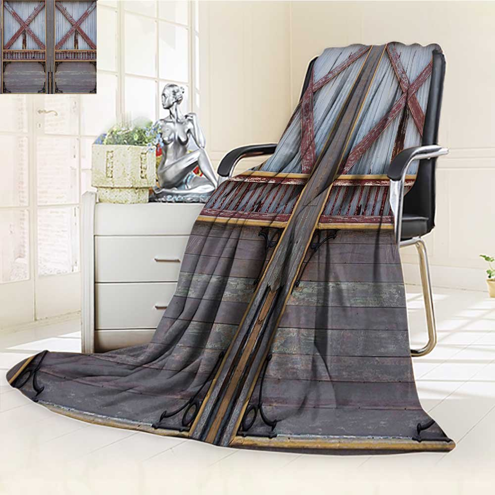 YOYI-HOME Digital Printing Duplex Printed Blanket Gate Image Street Construction Window Covered with Metallic Plank Brown Grey Summer Quilt Comforter /W47 x H59