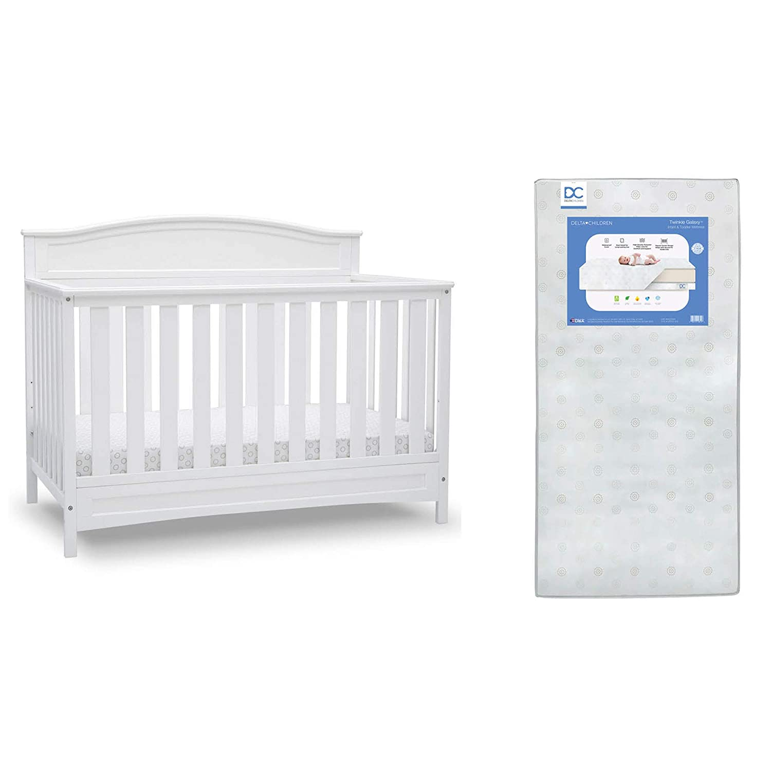 Delta Children Emery Deluxe 6-in-1 Convertible Crib, Bianca White + Delta Children Twinkle Galaxy Dual Sided Recycled Fiber Core Crib and Toddler Mattress (Bundle)