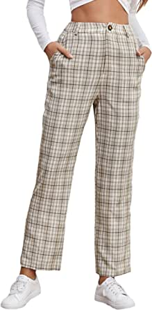 WDIRARA Women's Plaid High Waist Button Casual Crop Pants Trousers with Pockets
