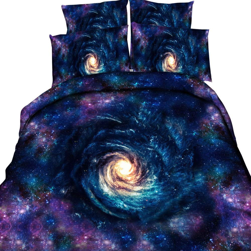 EsyDream 3d Mysterious Boundless Galaxy Sky Cosmic Vortex Bedding Sets No Quilt,King Size 4PC/Set((1 Duvet Cover +1 Flat Bed Sheet+2 Pillowcase))