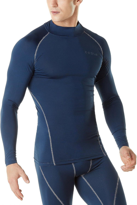 TSLA Mens Mock Long-Sleeved Compression Cool Dry Baselayer T-Shirt Top