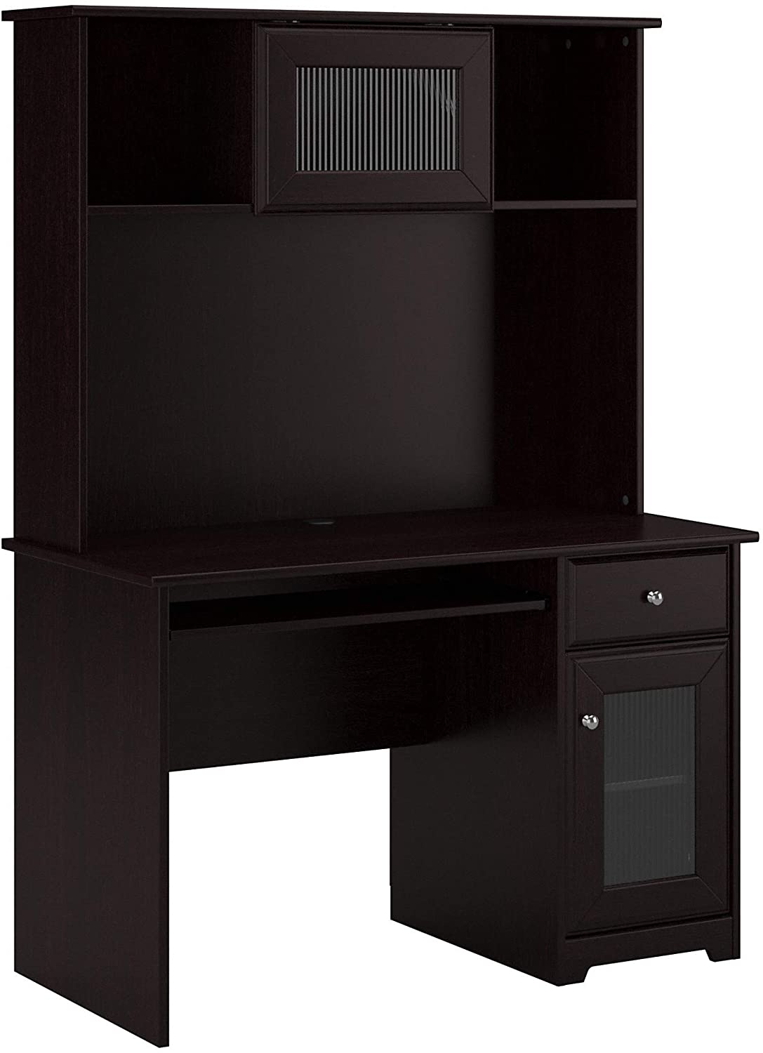 Bush Furniture Cabot Small Computer Desk with Hutch and Keyboard Tray, 48W, Harvest Cherry