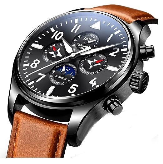 Carnival - Reloj de pulsera mecánico para hombre, diseño de la marca Pilot de Suiza, luminoso, acero inoxidable, multifunción, reloj de negocios: Carnival: ...