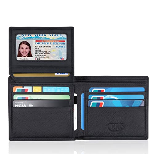 Crius RFID Blocking Stylish Leather Wallet for Men black,Credit Card Protector