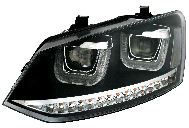 Eagle Eyes Scheinwerfer Set in Schwarz mit LED Blinker mit U-Tube Tagfahrlicht Optik