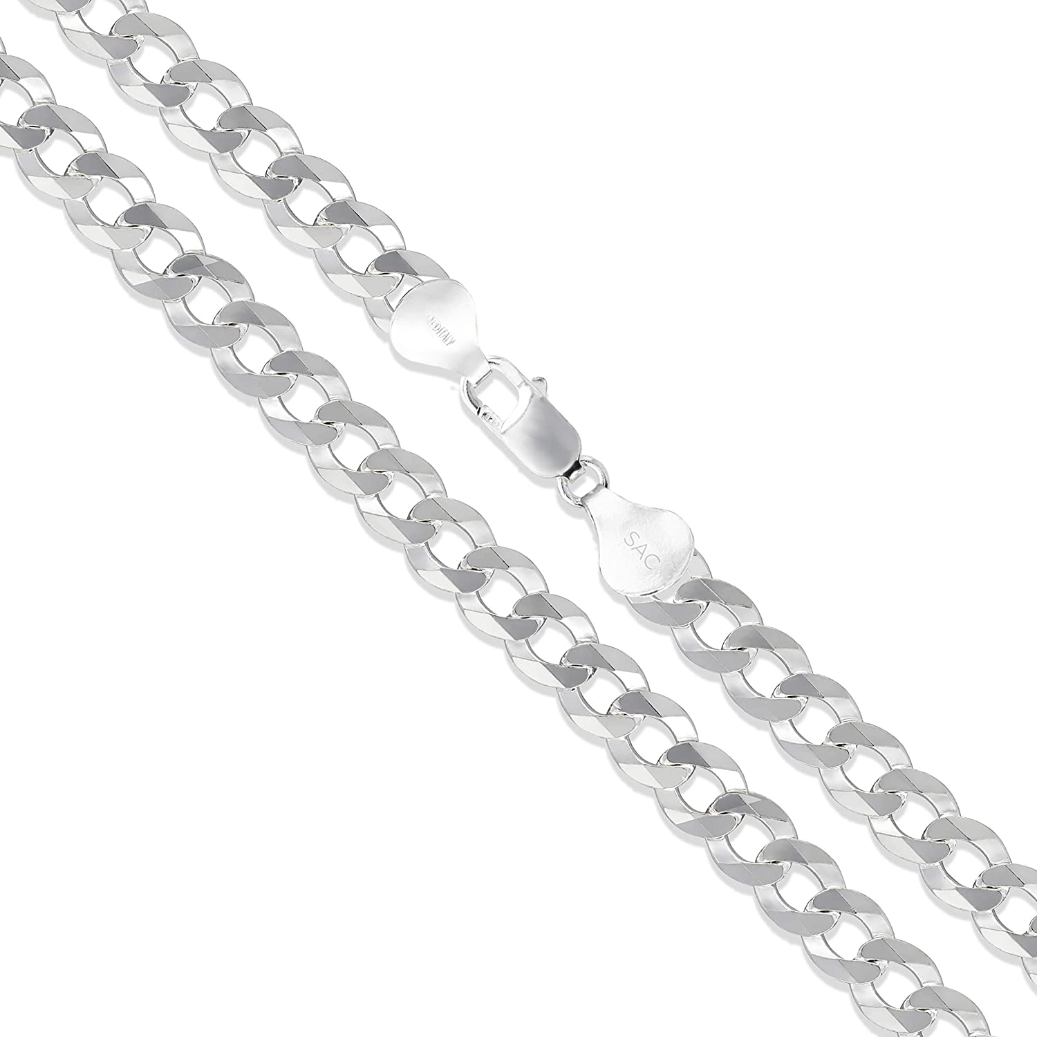 Men's Sterling Silver Flat Curb Chain 5.2mm-14.8mm Solid 925 Italy Link Necklace