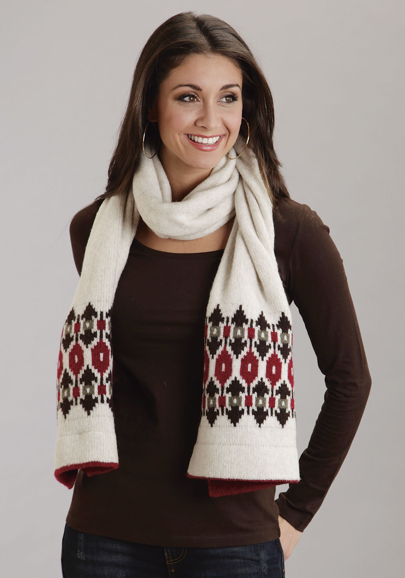 Stetson Womens Tan Wool Blend Intarsia Pattern Sweater Knit Scarf PPK
