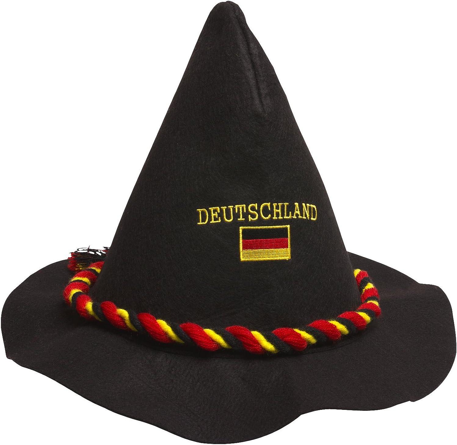 Fanartikel Fanhut Trachtenhut mit Deutschlandflagge EM 2020 elasto Bayrischer Filzhut Schwarz Deutschland