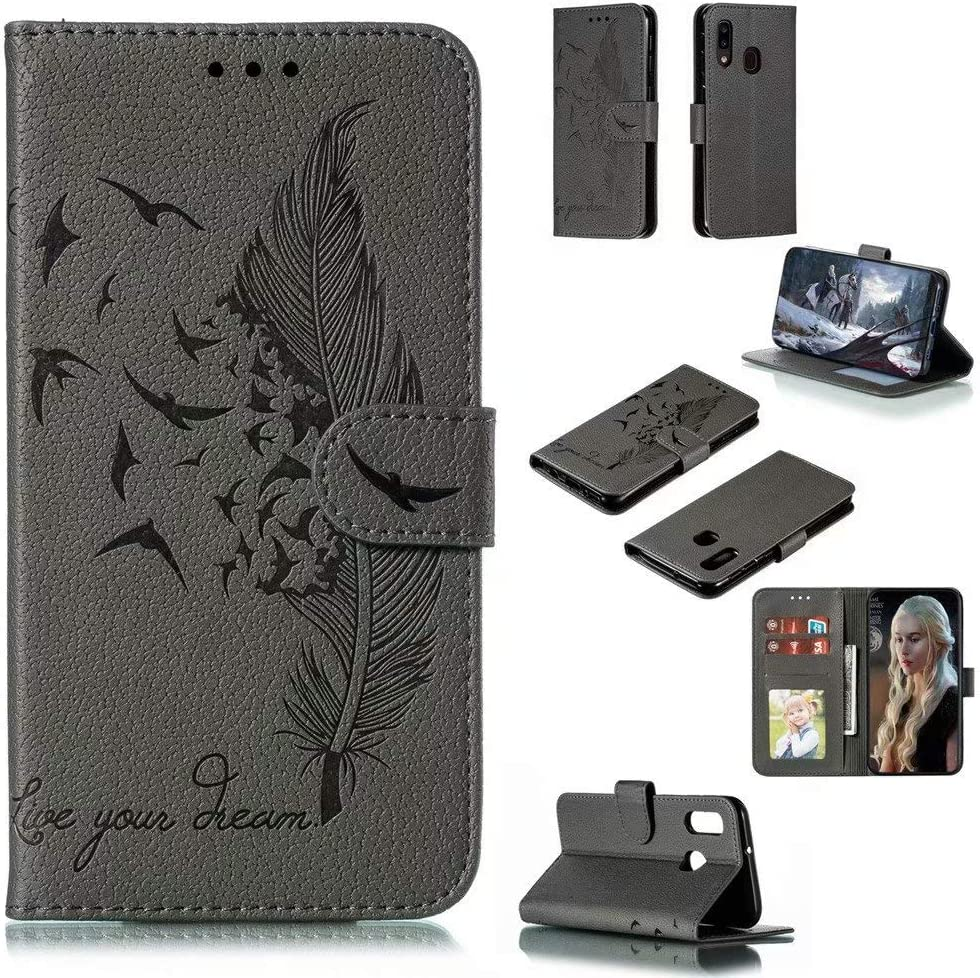 FlipBird Luxury Flip Wallet Case for Galaxy A20E Flip Fold Kickstand Case with Card Holders Folding Stand Protective Book Case Cover for Samsung Galaxy A20E