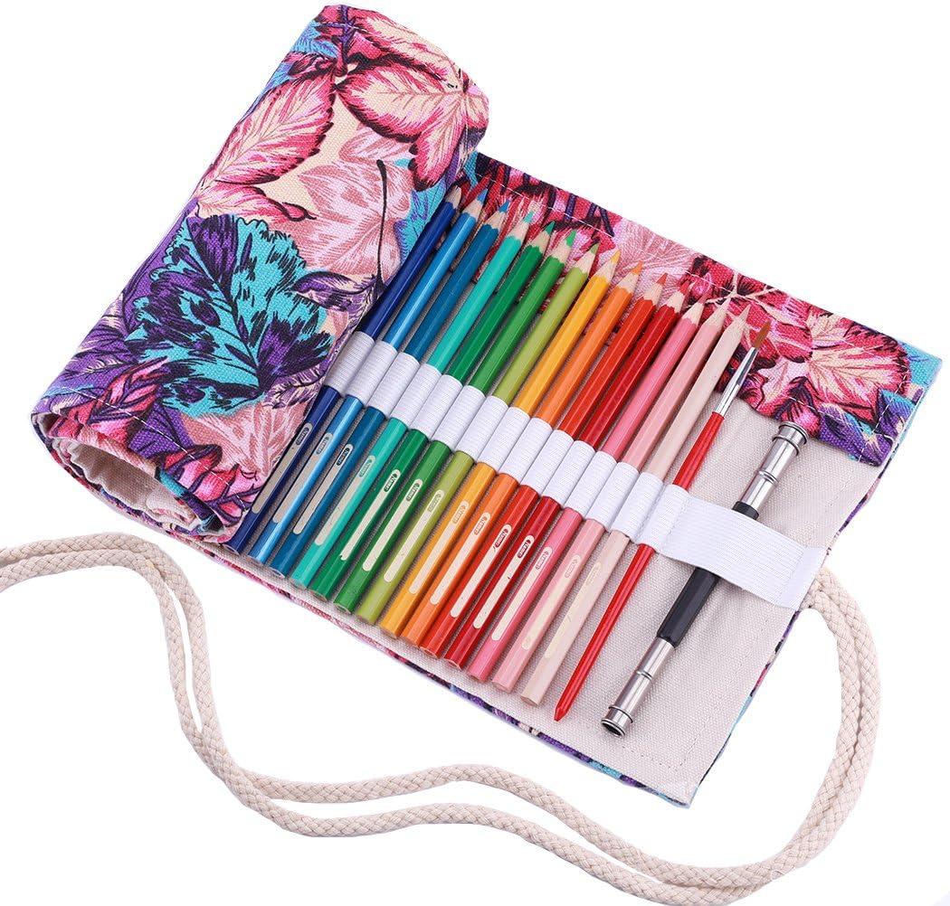 Abaría - Bolso para lápices, estuche enrollable para 48 lapices colores, portalápices de lona, bolsa organizador lápices para infantil adulto, hojas 48: Amazon.es: Electrónica