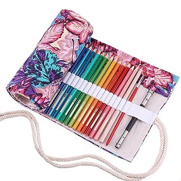 Abaría - Bolso para lápices, estuche enrollable para 48 lapices colores, portalápices de lona, bolsa organizador lápices para infantil adulto, hojas ...