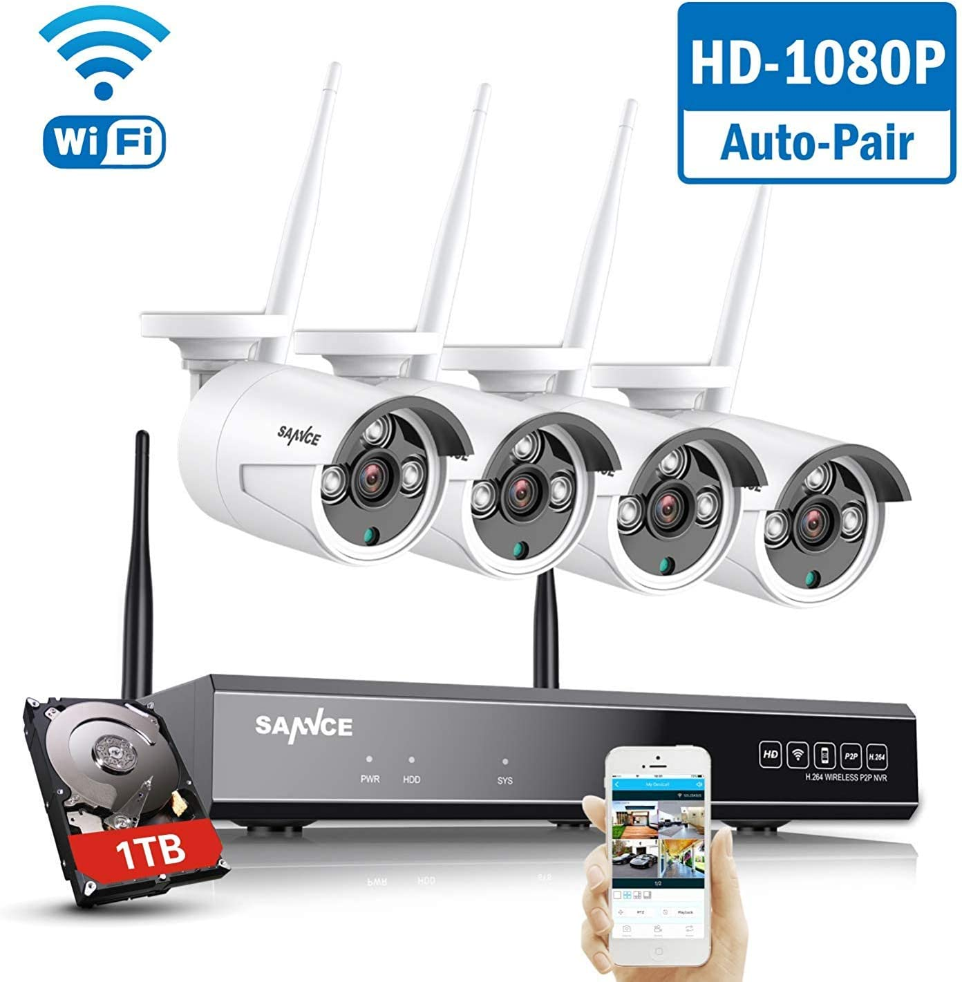 【Expandable 8CH】 Wireless Security Camera System with 1TB Hard Drive, SANNCE 8 Channel NVR 4Pcs 1080P 2.0MP WiFi IP Security Surveillance Cameras Home Outdoor, Easy Remote View, 100FT Night Vision 71uyn7v1ECL
