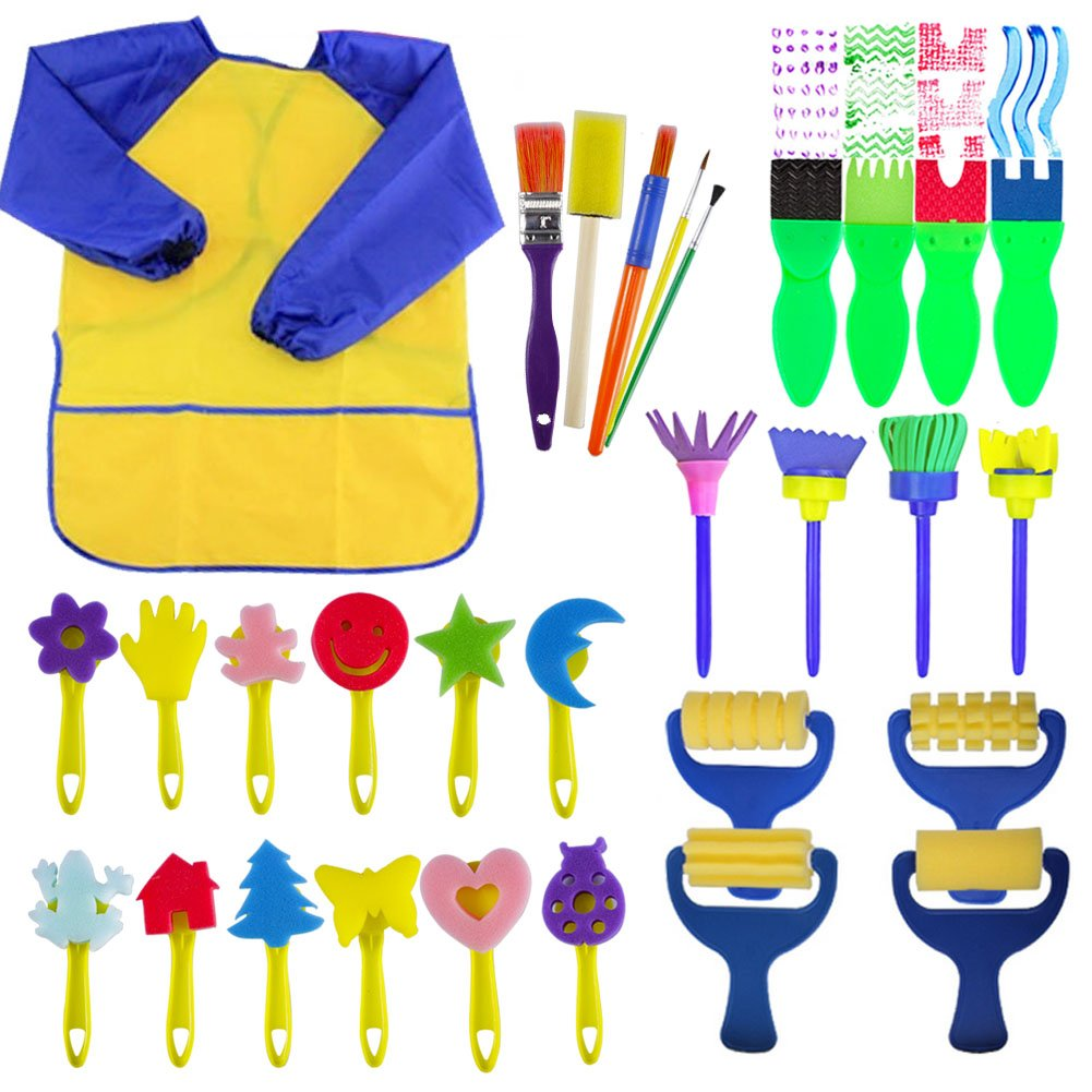 EVNEED Paint Sponges for Kids,29 pcs of Fun Paint Brushes for Toddlers.Coming with Sponge Brush, Flower Pattern Brush, Brush Set, Long Sleeve Waterproof Apron with 3 Roomy Pockets by EVNEED