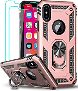 iPhone X Case, iPhone Xs Case with Tempered Glass Screen Protector [2 Pack] for Women Men, LeYi [Military Grade] Protective Phone Case with Ring Kickstand for Apple iPhone X/Xs/ 10, Rose Gold