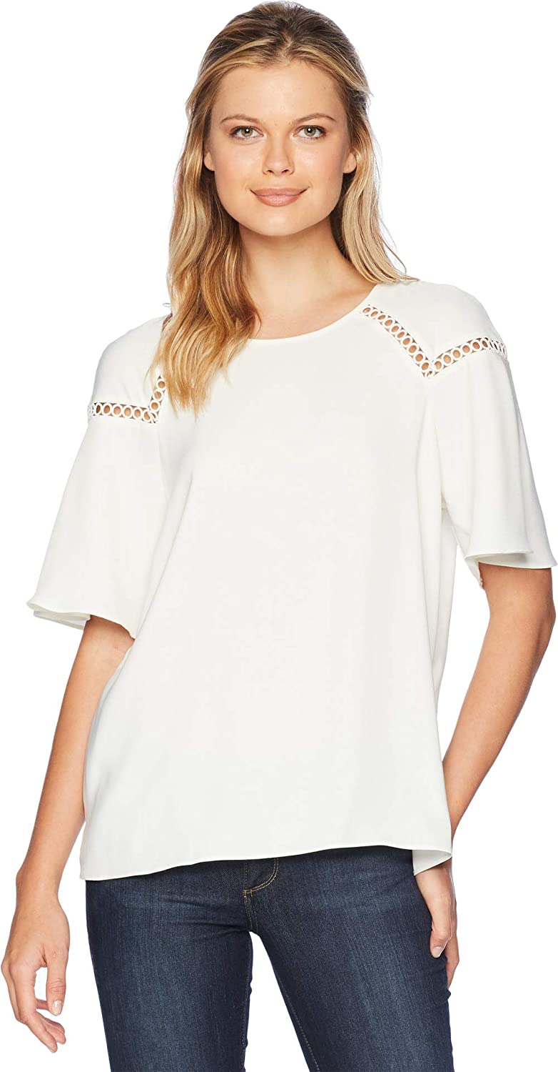 795b832c9a5054 Vince Camuto Womens Ruffled Short Sleeve Blouse w/Shoulder Fagotting Trim  at Amazon Women's Clothing store:
