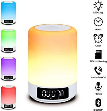 Beawelle Bluetooth Speaker Color Changing Lamp Bedside Lamp Touch Control Lamp RGB & LED Kids Night Light Mode, Music Mood Light Table Lamp, Timer, TF